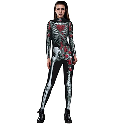Oksale Happy Hallowen Women Rose Skeleton Movement Breathable Costume Apparel Bodysuits for Halloween Party Fancy Play Clothing (L, Black) - Sexy Hallowen Costumes