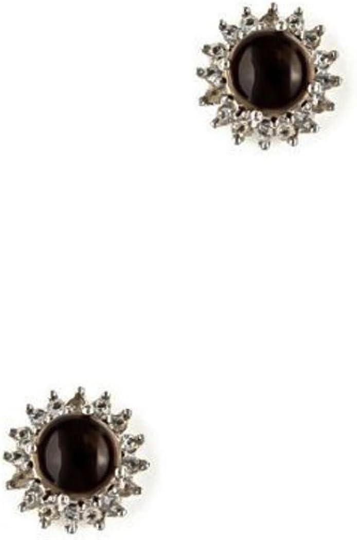 Silvance - Pendientes de mujer de plata{925} rodiada con cuarzo ahumado E1883SM