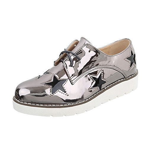 Flats Design Grau Up Silber Lace Women's Ital Sznxn