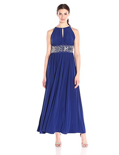 - R&M Richards Women's Halter Gown with Beaded Waist, Royal, 8