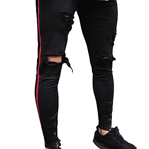 Hellomiko Pantalones Vaqueros Rasgados con Dobladillo con Cremallera, Pitillos Vaqueros Desgastados Pitillo Negro sólido S-3XL Negro