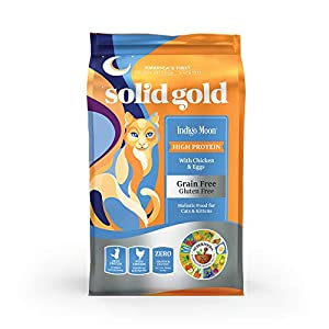 Solid Gold High Protein Grain-Free Dry Cat Food; Indigo Moon With Natural Real Chicken & Eggs 12Lb 10