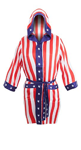 Hit the ring in style with this star-spangled American flag satin robe from the Rocky franchise, an awesome reproduction of the one worn by the original champ Apollo Creed. Features all over red, white, and blue design with hood, sash belt. S...