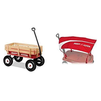 Radio Flyer Full Size All-Terrain Steel and Wood Wagon with Wagon Canopy Bundle: Toys & Games