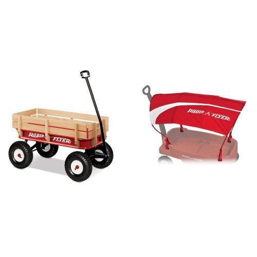 Radio Flyer Full Size All-Terrain Steel and Wood Wagon with Wagon Canopy Bundle