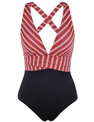 - Firpearl Women's One Piece Swimsuit Striped V Plunge Cross Back Monokini Bathing Suit US12 Red Stripe