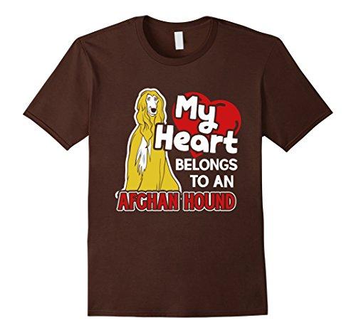 Afghan Hound Mens T-shirt (Mens My Heart Belong To An Afghan Hound Tshirt 3XL Brown)