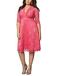 Dilanni Women's Lace Half Sleeves Wedding Party Short Dress Plus Size