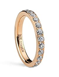 Metal Masters Co.® 3MM Women's Rose Gold Titanium Eternity Ring Wedding Band with Pave Set Cubic Zirconia