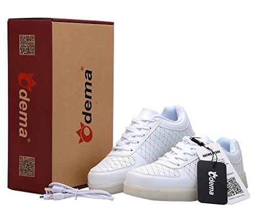 Odema zapatillas de luz LED de siete colores de carga USB unisex Blanco