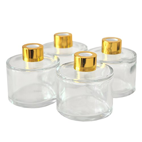 Clear Glass Diffuser - Ougual Set of 4 Cylindrical Round Glass Essential Oils Diffuser Bottles (100ML, Gold Cap)