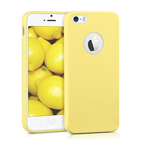 kwmobile TPU Silicone Case for Apple iPhone SE / 5 / 5S - Soft Flexible Shock Absorbent Protective Phone Cover - Yellow Matte