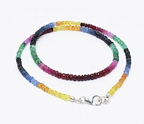 100 % Natural 18'' 52 Carat Rondelle shape Multi color precious ruby sapphire emerald gemstone faceted rondelle beads necklace Size 3-3.5 ()