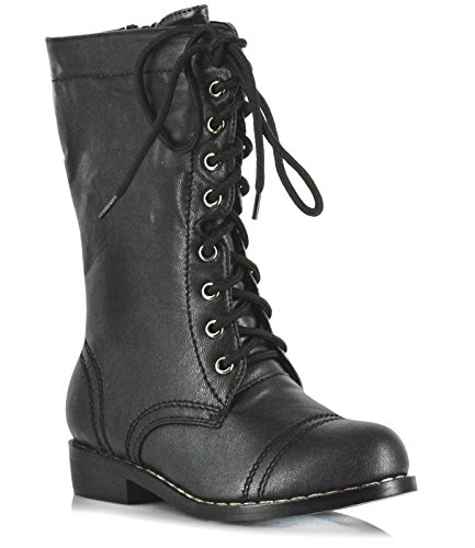 [Ellie Shoes Kids Superhero Mid Calf Black Lace Up Combat Boots Large - Large] (Combat Costumes Women)