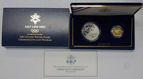 2002 W & P Salt Lake Olympic Winter Games Commemorative Two-Coin Set $5 Gold & $1 Silver Proofs
