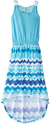Derek Heart Big Girls' Solid To Print High Low Dress, Blue Water, Small