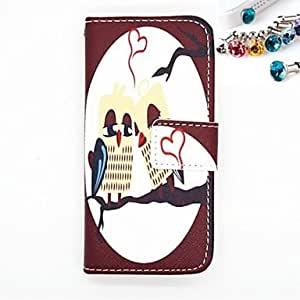 The Dustproof Plug and The Owl Lovers Pattern PU Leather Full Body Case with Card Slot and Stand for iPhone 5/5s