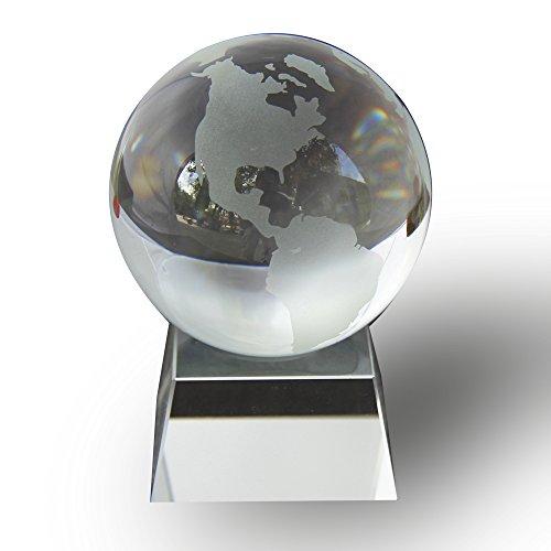 "JKK SALE Crystal Globe (3"" Diameter) on Crystal Stand"