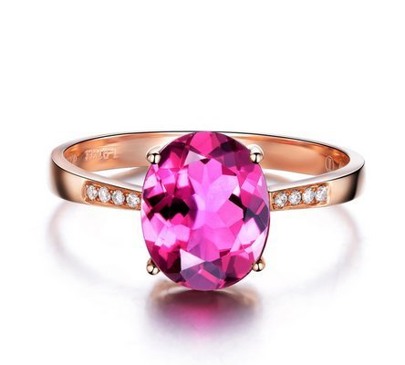 GOWE NEW ARRIVAL REAL 18K ROSE GOLD 1.0 CT REAL DEEP PINKLISH PURPLE TOURMALINE RING 0.02 CT DIAMOND RING 0