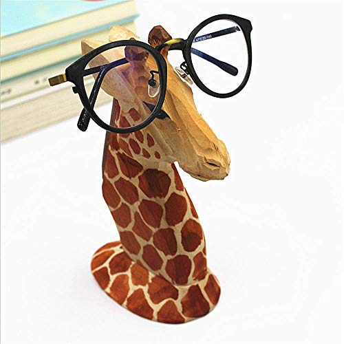 Giraffe Gift - TANG SONG Creative Wood Hand Carved Eyeglass Holder Handmade Nose Giraffe Stand for Office Desk Home Decor Gifts