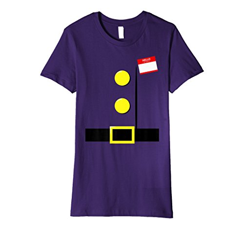 Womens Dwarf Halloween Group Costume Idea T-Shirt with Name Plaque XL Purple -