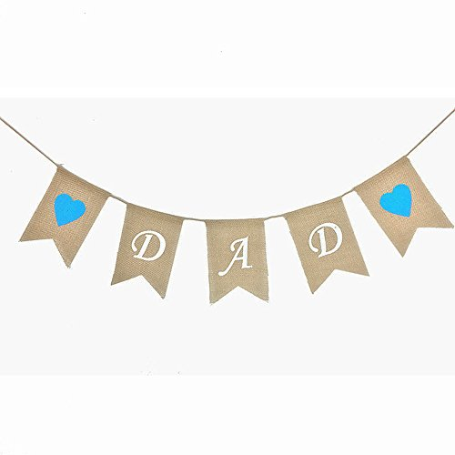 KissDate DAD Father's Day Burlap Banner, Blue Heart Pattern Bunting Garland Flags for Fathers Day Home Party Decoration for $<!--$6.65-->