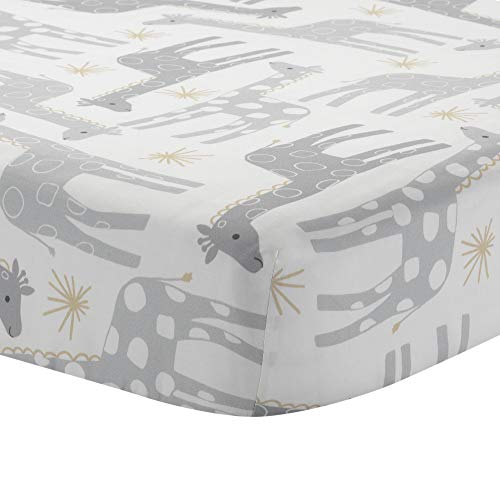 Lambs & Ivy Signature Moonbeams Cotton Fitted Crib Sheet - Gray, Gold, White - Giraffe Fitted Sheet