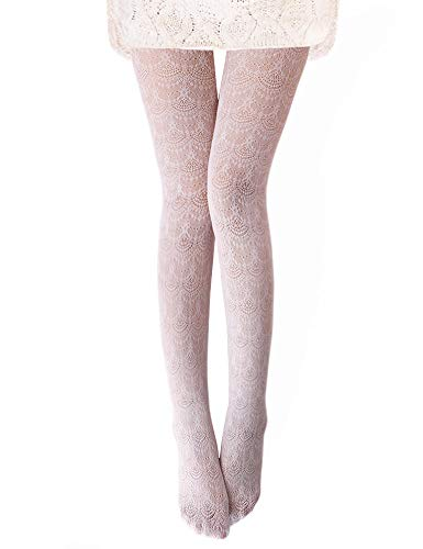Vero Monte 1 Pair Women's Hollow Out Knitted Patterned Tights (White) 44551