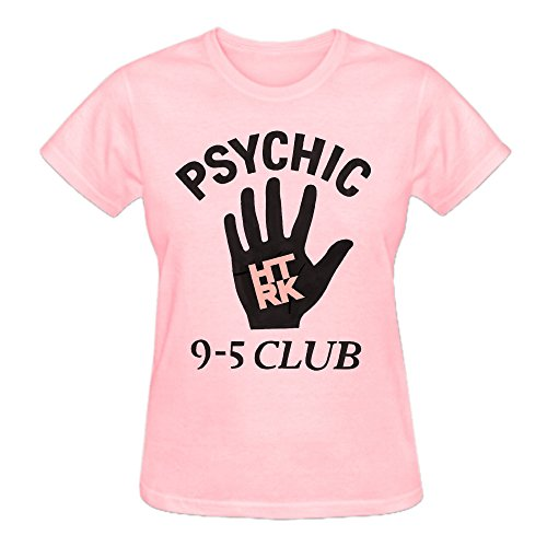 Htrk Psychick 9 5 Club 100% Cotton Tee Shirts For Women Crew Neck Pink