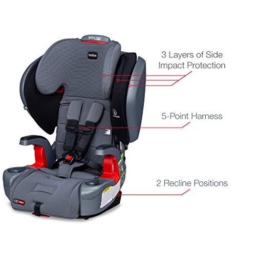 41C6Kro%2B3vL - Britax Grow With You ClickTight Plus Harness-2-Booster Car Seat | 3 Layer Impact Protection - 25 To 120 Pounds, Otto Safewash Fabric [New Version Of Pinnacle]
