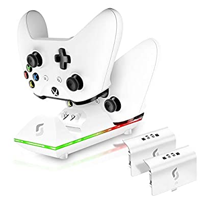 Sliq Xbox One/One X/One S Controller Charger Station and Battery Pack - Fits Two Wireless Game Pads, Includes 2 Rechargeable Batteries - Also Compatible with Elite and PC Versions