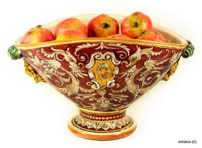 MAJOLICA RUBINO: Oval footed centerpiece with bass relief crest (Majolica Centerpiece)