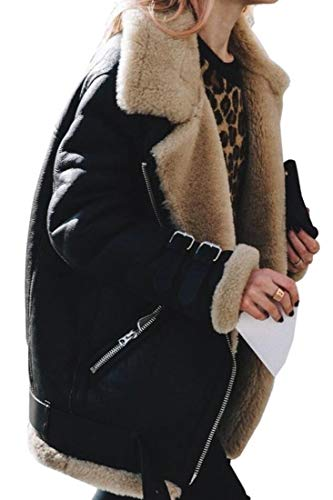 Suede Basso Dennis Faux (UNINUKOO Unko Womens Faux Shearing Moto Jacket Oversized Thick Suede Coat with Pockets Black L)