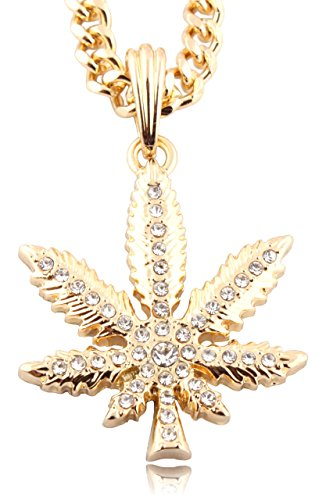 JOTW Small Goldtone Iced Out Marijuana Pendant with a 24 Inch Miami Cuban Chain Necklace