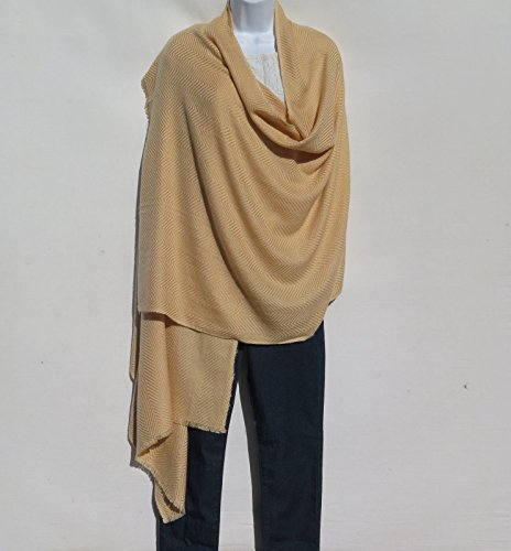 (100% Cashmere |Himalayan |Shawl | Herringbone |4 Ply |Handmade | Camel)