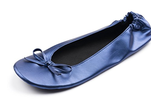 Blue Slipper Women's Roll Travel Shoes Up Ballet Metallic Portable Flat Foldable qZqTwv
