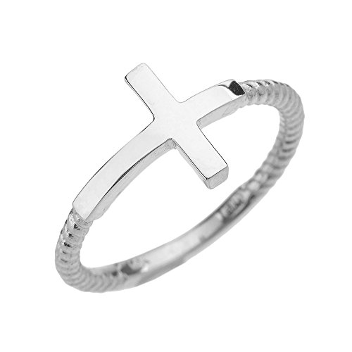 10k White Gold Twisted Rope Band Sideways Cross Ring (1.6 mm band width) (Size 12) 10k Rope Cross