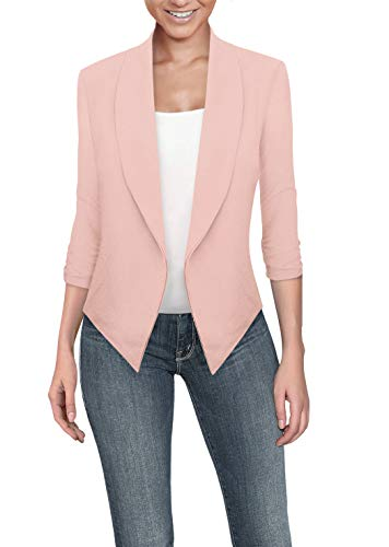 Womens Casual Work Office Open Front Blazer JK1133 Blush XL (Pink Blush Clothing)