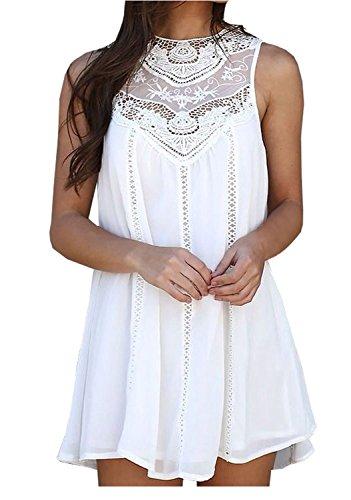 Damen Pastell Sommerkleid Strandkleid Rundhals Ausschnitt Spitzekleid ärmellos Chiffonkleid Trägerkleid Elegant Weiß Kurz