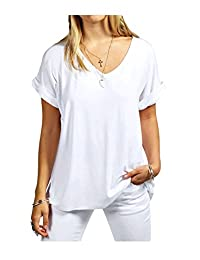Rimi Hanger Womens Turn up Sleeves Loose Baggy T Shirt Top S/3XL