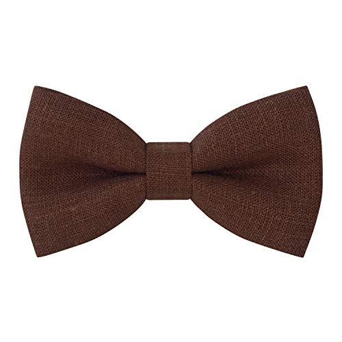 Linen Classic Pre-Tied Bow Tie Formal Solid Tuxedo, by Bow Tie House (Small, Pecan Brown) (Pecan Solid)