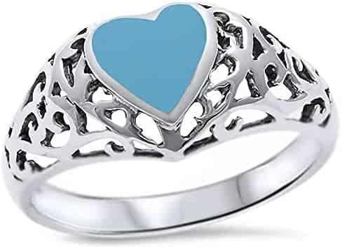 Princess Kylie Synthetic Turquoise Sharp Heart Ring Sterling Silver