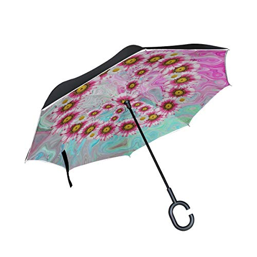 Double Layer Inverted Peace Harmony Freedom Hope Colorful Love Peace Umbrellas Reverse Folding Umbrella Windproof Uv Protection Big Straight Umbrella For Car Rain Outdoor With C-shaped Handle by KNEVFLOW