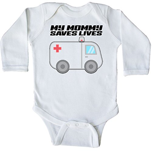 inktastic - My Mommy Saves Lives- Long Sleeve Creeper Newborn White -