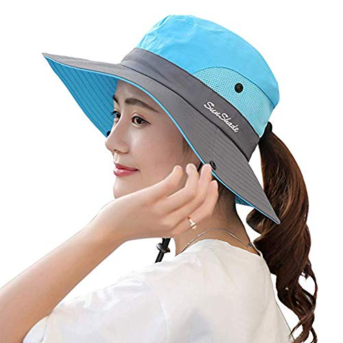 Ponytail Women's Summer Sun Bucket Hats UV Protection Safari Hiking Wide Brim Beach Foldable Mesh Fishing Cap (Sky Blue) ()