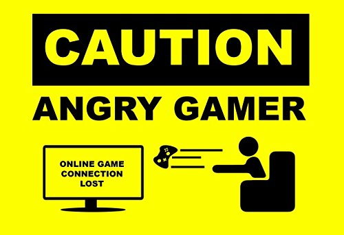Wii Accessories Free Shipping (Caution Angry Gamer Funny Connection Lost 13x19 POSTER)