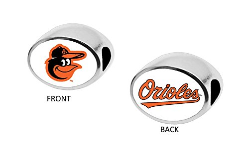 Baltimore Orioles 2-Sided Bead Fits Most Bracelet Lines Including Pandora, Chamilia, Troll, Biagi, Zable, Kera, Personality, Reflections, Silverado and More Charm Bead Fits Pandora Style Bracelets