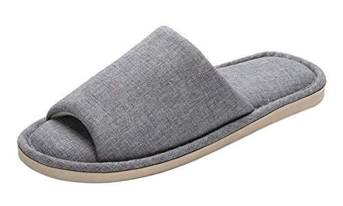 FEET FEEL Men's Cowboy Canvas Slip-on Slippers Non-Slip Sandal Moisture Wicking House Slippers