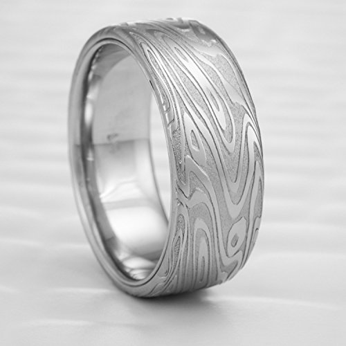 - Flat Men's Damascus Wedding Band with Palladium Liner | ORGANIC WOOD