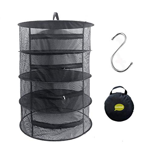 SUOMEI 4 Layer Mesh Hanging Herb Drying Rack Dry Net with Zippers,Gift to S Hang Buckle and Storage Bag,Black (Sun Food Dehydrator)